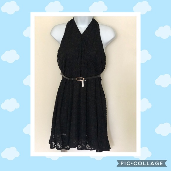 Candie's Dresses & Skirts - NWT! Candie's Black Gauze Surplice Halter Dress